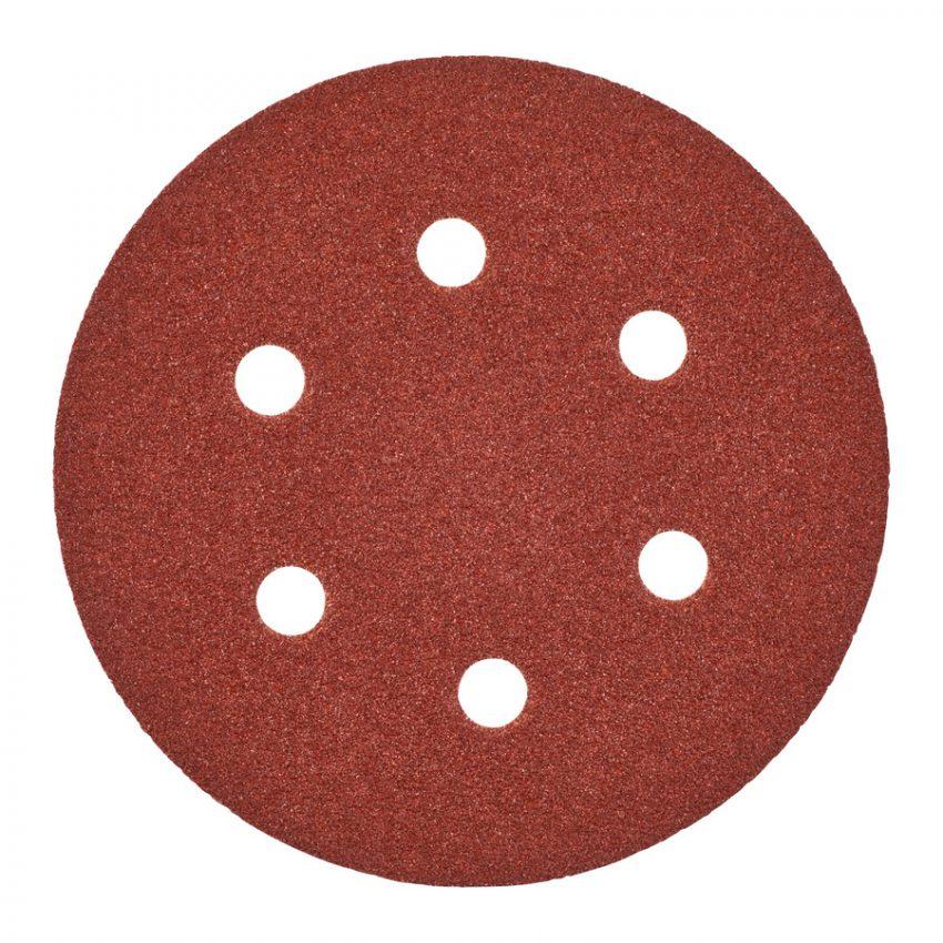 150 mm H and L GR 40 - 5 pcs - Sanding sheets for random orbital sanders ø 150 mm - 6 holes