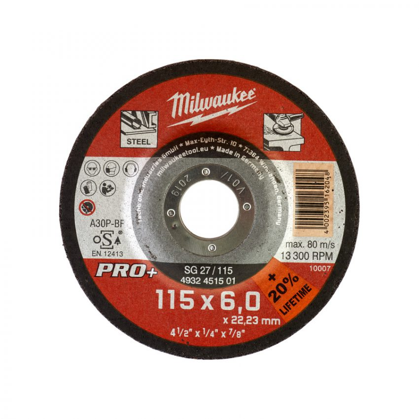 SG 27 - 115 x 6 x 22 mm - 25 pcs - Metal grinding discs PRO+